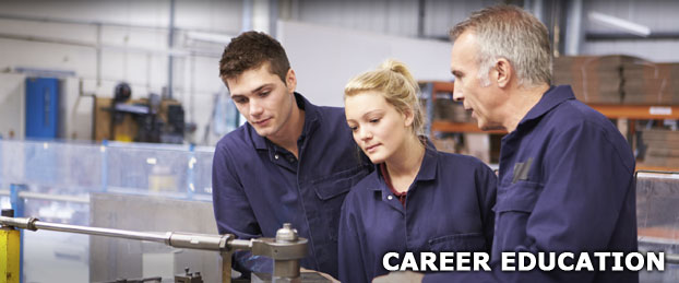Two students and their teacher working on machinery, used to represent the Career Education Department