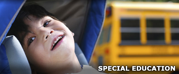 A child in front of a school bus, used to represent the Special Education Department